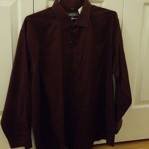 Kenneth Cole REACTION 17.5 32-33 Burgundy Shirt